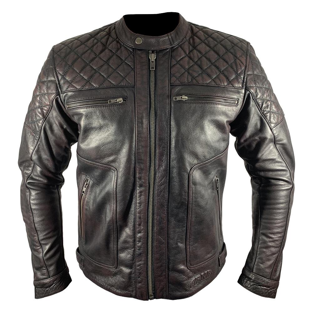 ARMR Moto Retoro Classic Wine Leather Motorcycle Jacket