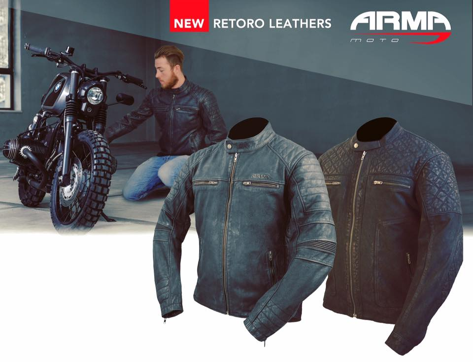 ARMR Moto Retoro Mens Leather Motorcycle Jacket Banner