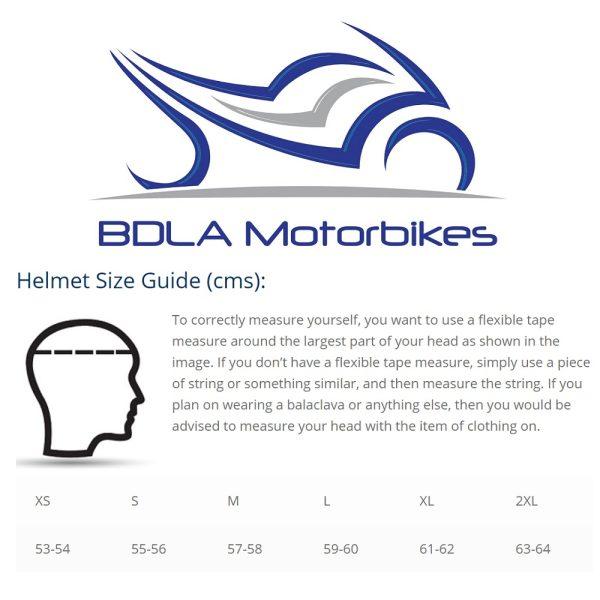 Motorcycle Helmet Size Guide - BDLA Motorbikes