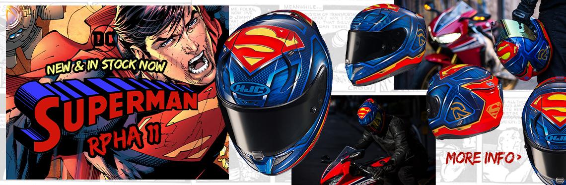 HJC RPHA 11 Superman Motorcycle Helmet Web Banner
