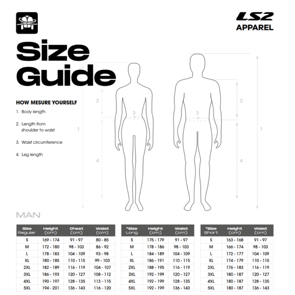 LS2 Mens Motorcycle Clothing Size Guide