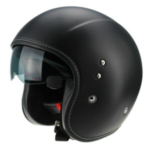 Viper F17 Aviator Plain Motorcycle Helmet Black 1